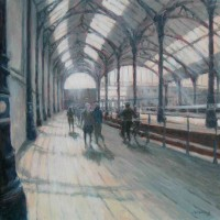 Station Sunlight by John Whiting –  Oil on canvas (40x40cm) –  SOLD