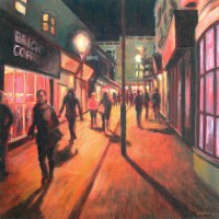 Night Walkers by John Whiting –  Oil on canvas (40x40cm) –  SOLD