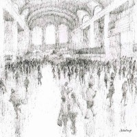 Grand Central Rush – John Whiting Ink 28x28cm – £250 unframed
