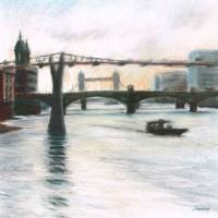 Millenium Bridge – John Whiting Pastel 40x40cm – £500 framed