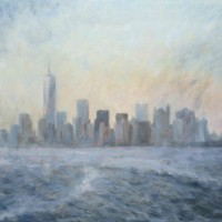 New York City on the Staten Island Ferry  – John Whiting Oil on canvas 80x60cm – SOLD