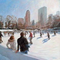New York Christmas – John Whiting Oil on canvas 60x60cm – £1250 framed