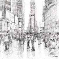Times Square Cowboys – John Whiting Ink 28x28cm – £250 unframed