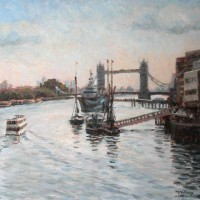Tower Bridge – John Whiting Oil on canvas 40x40cm – £900 framed