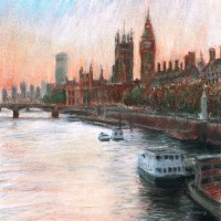 Westminster Dusk – John Whiting Pastel 40x40cm – £500 framed