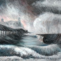 The Stormy Pier by John Whiting –  Oil on Canvas (80x60cm) –  £1400 framed