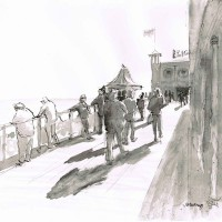 Pier Shadows – John Whiting Chinese ink (28x28cm) –  £300 framed