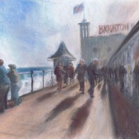 Photos on the Pier – John Whiting Pastel (39x29cm) –  SOLD