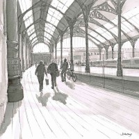 To the Trains– John Whiting Chinese ink (35x35cm) –  SOLD