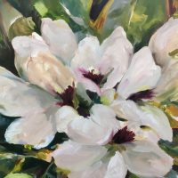 Elvendon Rhododendrons, oil on canvas by Pip Adams