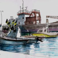 Boats Shoreham Port, pen and coloured ink