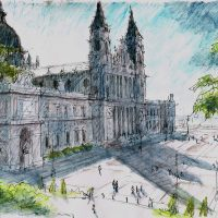 Catedral De La Almudena Madrid, pen and coloured ink