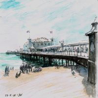 East Side Palace Pier, pen and coloured ink