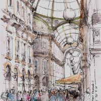 Galleria Vittorio Emanuele II, pen and coloured ink