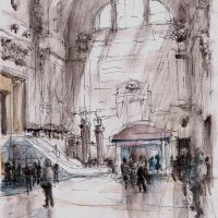 Milano Centrale, pen and coloured ink