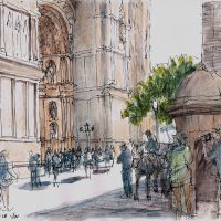 Palma Cathedral Mallorca, pen and coloured ink - £350 framed