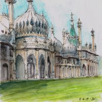 Pavilion East Front, pen and coloured ink