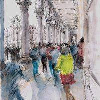 Piazza Del Duomo Milan, pen and coloured ink