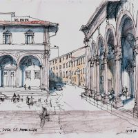 Piazza Della SS Annunziata Florence, pen and coloured ink - £350 framed