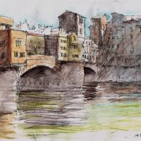 Ponte Vecchio Florence, pen and coloured ink. SOLD