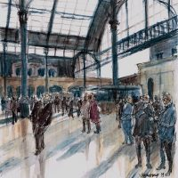 Station morning in Brighton, pen and coloured ink