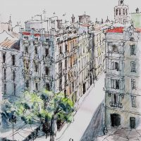 View From Torres De Serrans Valencia, pen and coloured ink