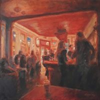 At The Dorset, 40x40cm, oil on canvas, £750 framed