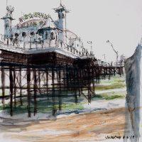 Beside the pier in June, pen and coloured ink - £250 framed (30x30cm)
