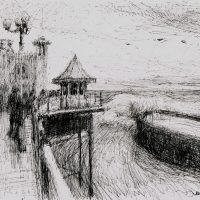 Big swell on the pier, pen and ink - £350 framed (40x40cm)