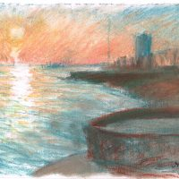 Brighton sunset study, pastel on paper - £350 framed (40x40cm)