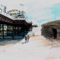 Pierside in May, pen and coloured ink - £350 framed (40x40cm)