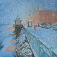 Snow on Kings Cliff, oil on canvas 60x60cm - £1200 framed