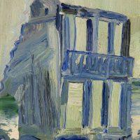 BOMBED BUILDING, GUERNICA 1937 - Alexander Johnson - oil on canvas, 20 x 24cm - £ 450