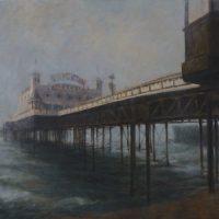 Misty Pier - John Whiting - oil on canvas 80x60cm - Framed £ 1200