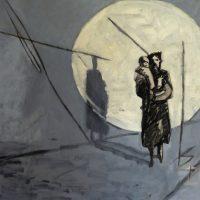 WOMAN IN SEARCHLIGHT - Alexander Johnson - oil on canvas 100 x 110cm - £ 3,000