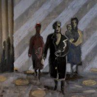 WOMEN LEAVING GUERNICA 1937 - Alexander Johnson -  oil on canvas, 60 X 66cm - £ 895